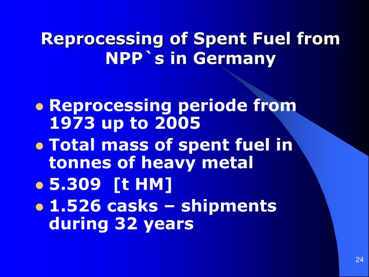 Reprocessing of Spent Fuel from NPP`s in Germany