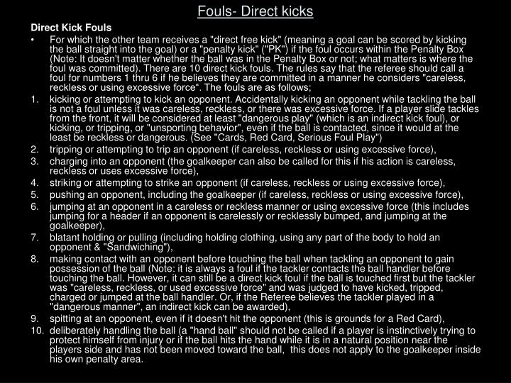 Fouls- Direct kicks