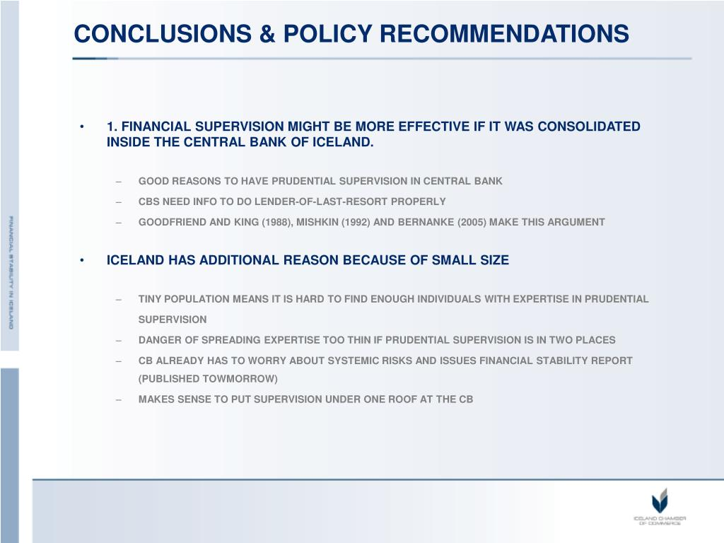 CONCLUSIONS & POLICY RECOMMENDATIONS