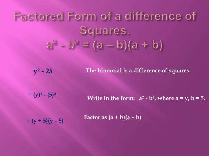 Factored Form of a difference of Squares.