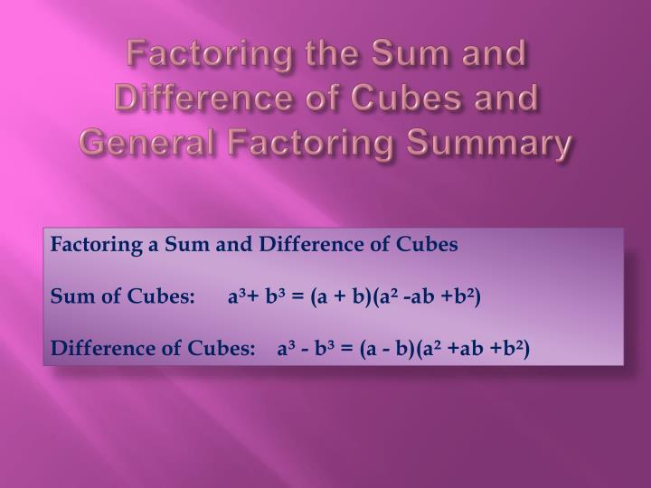 Factoring the Sum and Difference of Cubes and General Factoring Summary