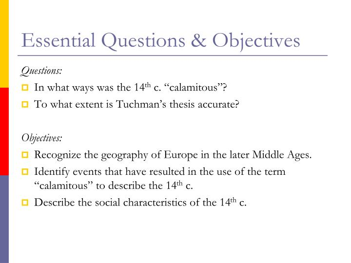 Essential Questions & Objectives