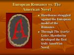 european romance vs the american novel
