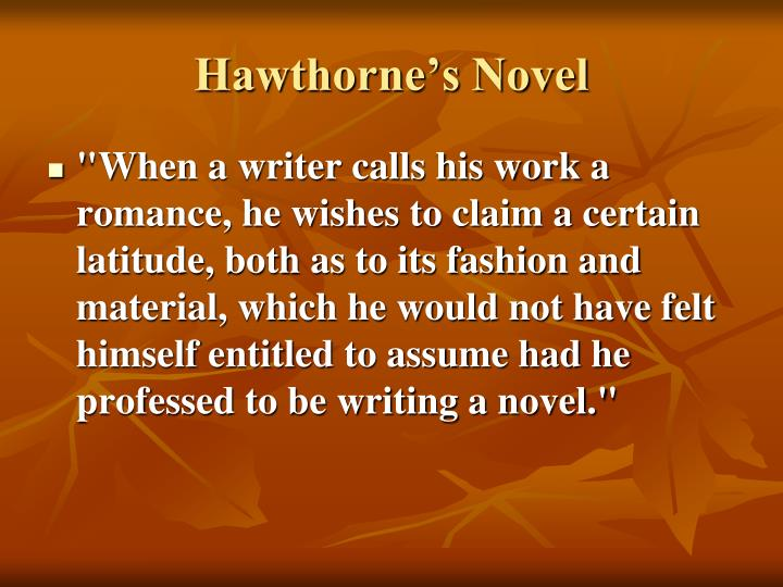 Hawthorne's Novel