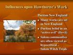 influences upon hawthorne s work2