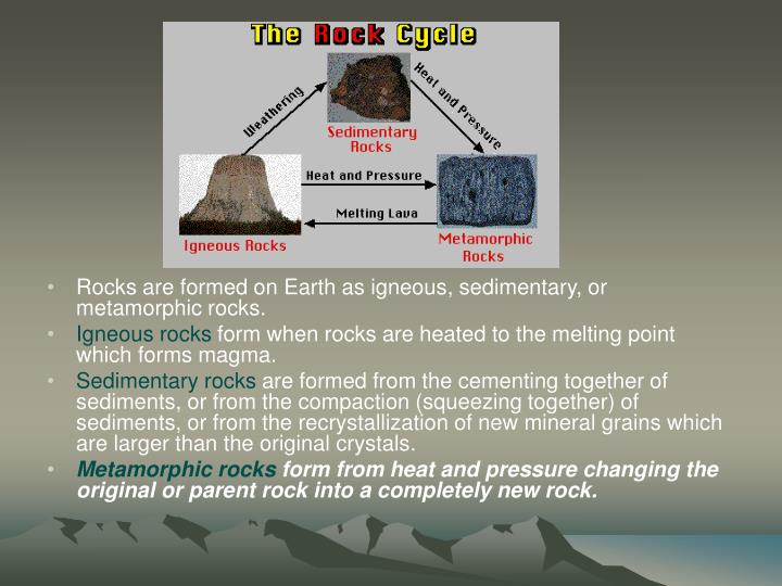 Rocks are formed on Earth as igneous, sedimentary, or metamorphic rocks.