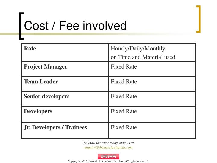 Cost / Fee involved