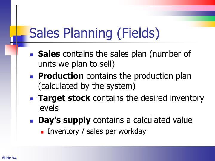 Sales Planning (Fields)