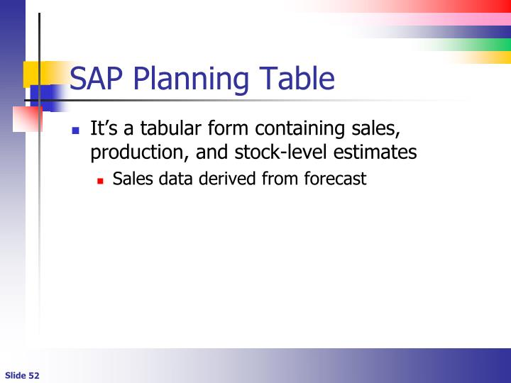 SAP Planning Table