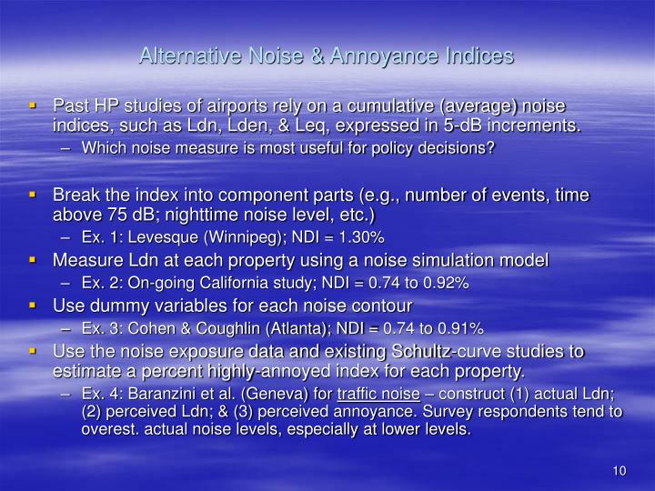 Alternative Noise & Annoyance Indices