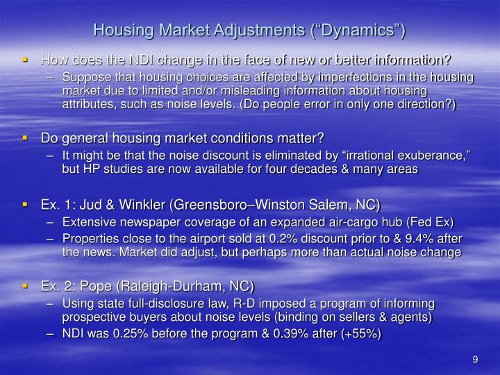 "Housing Market Adjustments (""Dynamics"")"