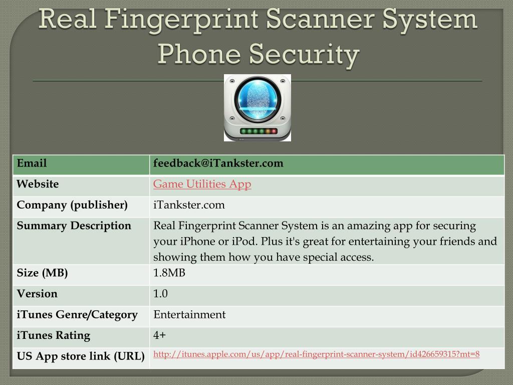 Real Fingerprint Scanner System