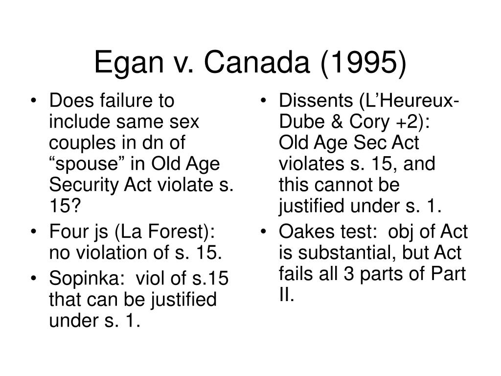 """Does failure to include same sex couples in dn of """"spouse"""" in Old Age Security Act violate s. 15?"""
