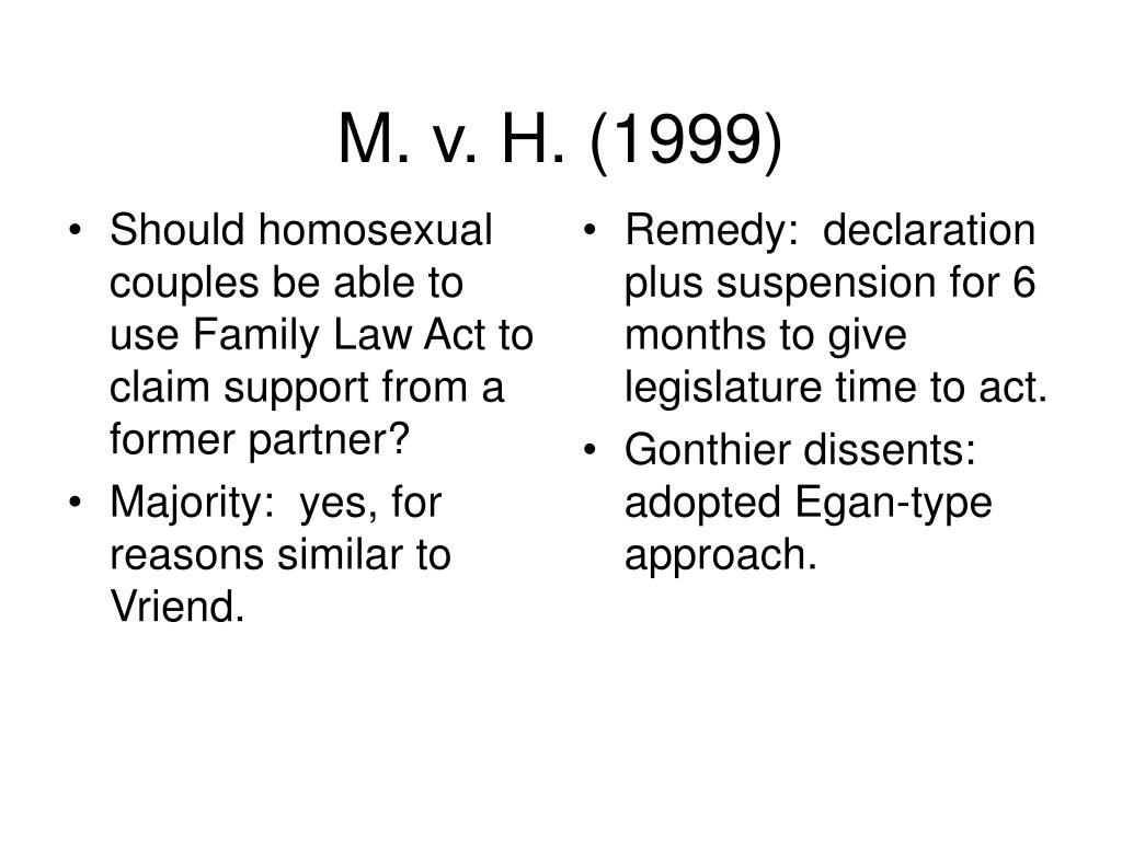 Should homosexual couples be able to use Family Law Act to claim support from a former partner?