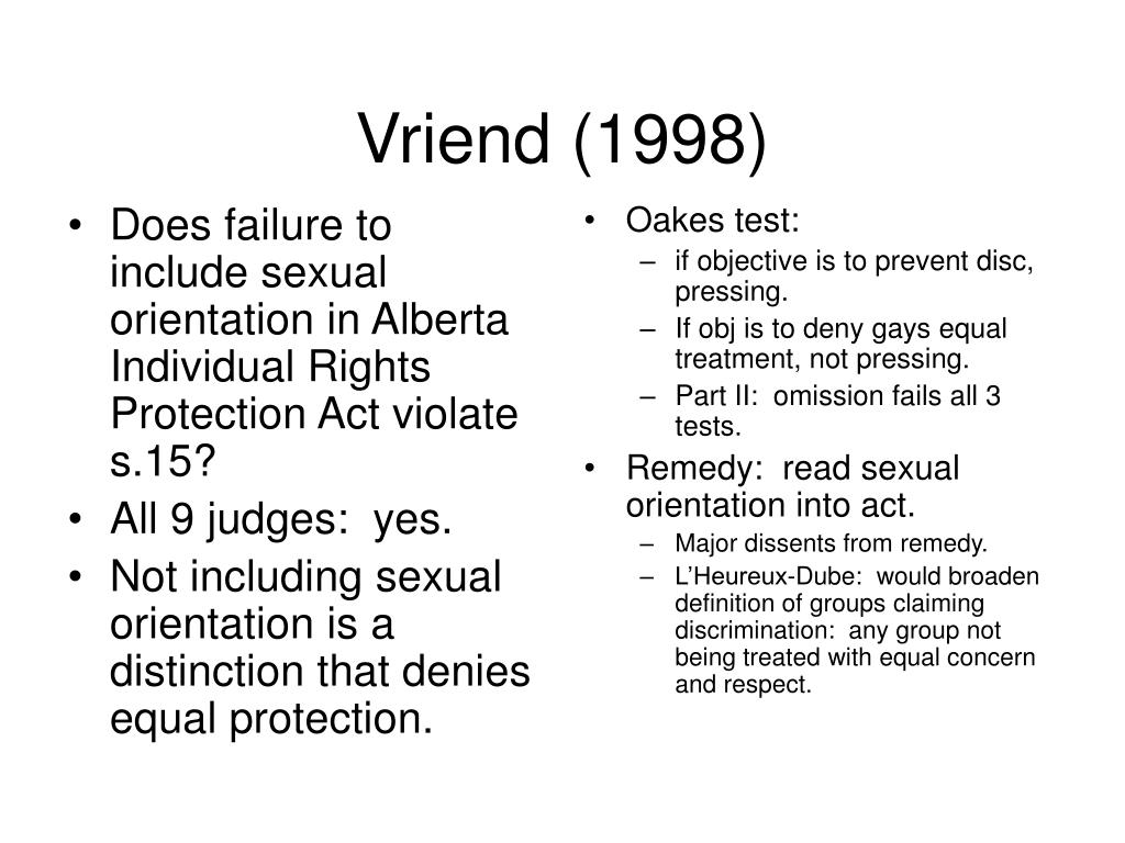 Does failure to include sexual orientation in Alberta Individual Rights Protection Act violate s.15?