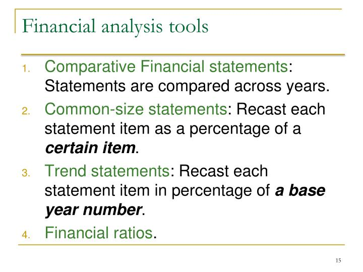Financial analysis tools