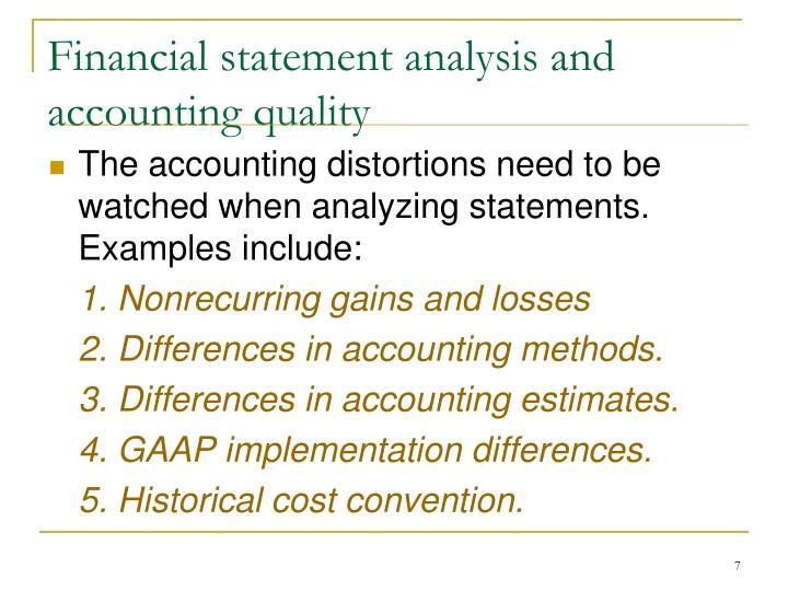 Financial statement analysis and accounting quality