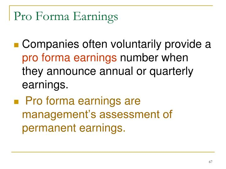Pro Forma Earnings