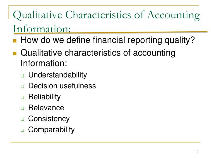 Qualitative Characteristics of Accounting Information: