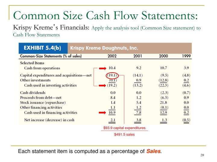 Common Size Cash Flow Statements: