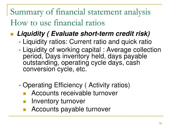Summary of financial statement analysis