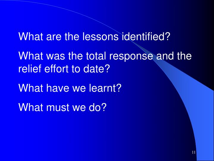 What are the lessons identified?