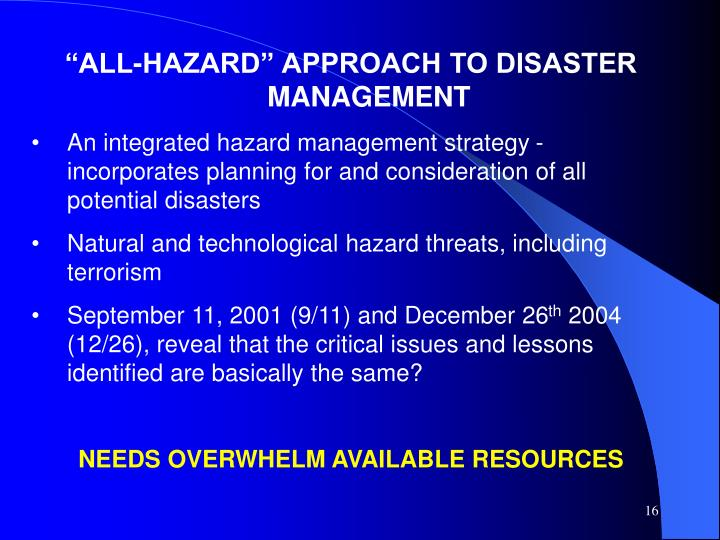 """ALL-HAZARD"" APPROACH TO DISASTER MANAGEMENT"