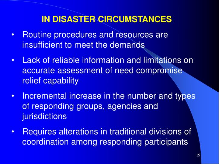 IN DISASTER CIRCUMSTANCES