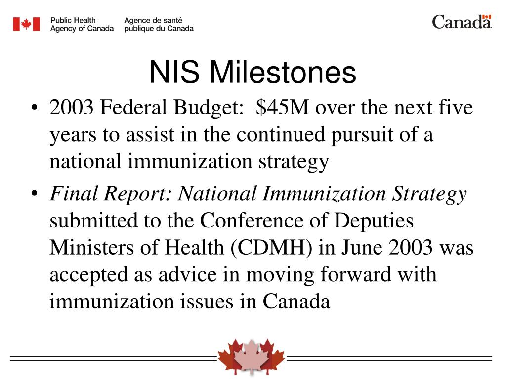 2003 Federal Budget:  $45M over the next five years to assist in the continued pursuit of a national immunization strategy