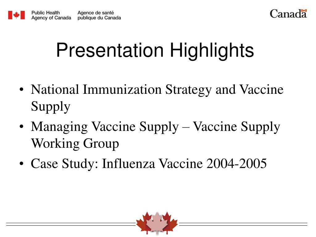 National Immunization Strategy and Vaccine Supply