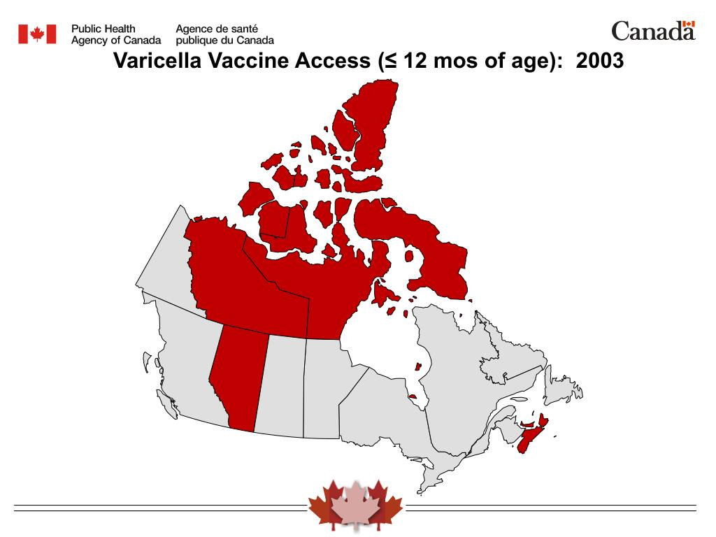 Varicella Vaccine Access (≤ 12 mos of age):  2003