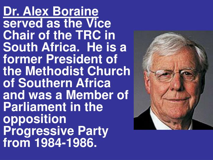 Dr. Alex Boraine