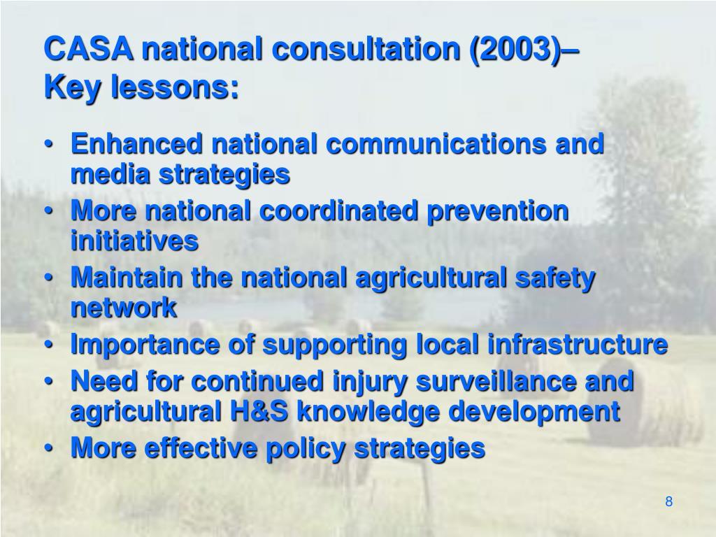 CASA national consultation (2003)–