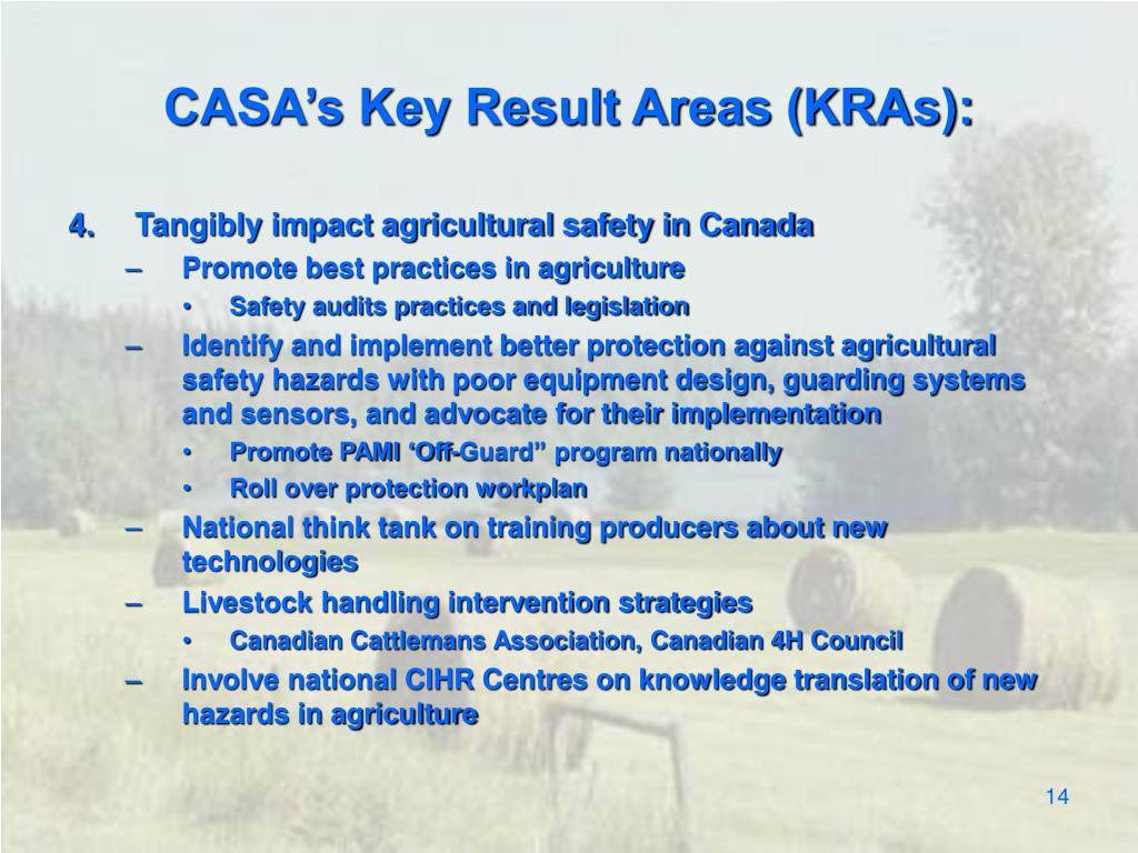 CASA's Key Result Areas (KRAs):