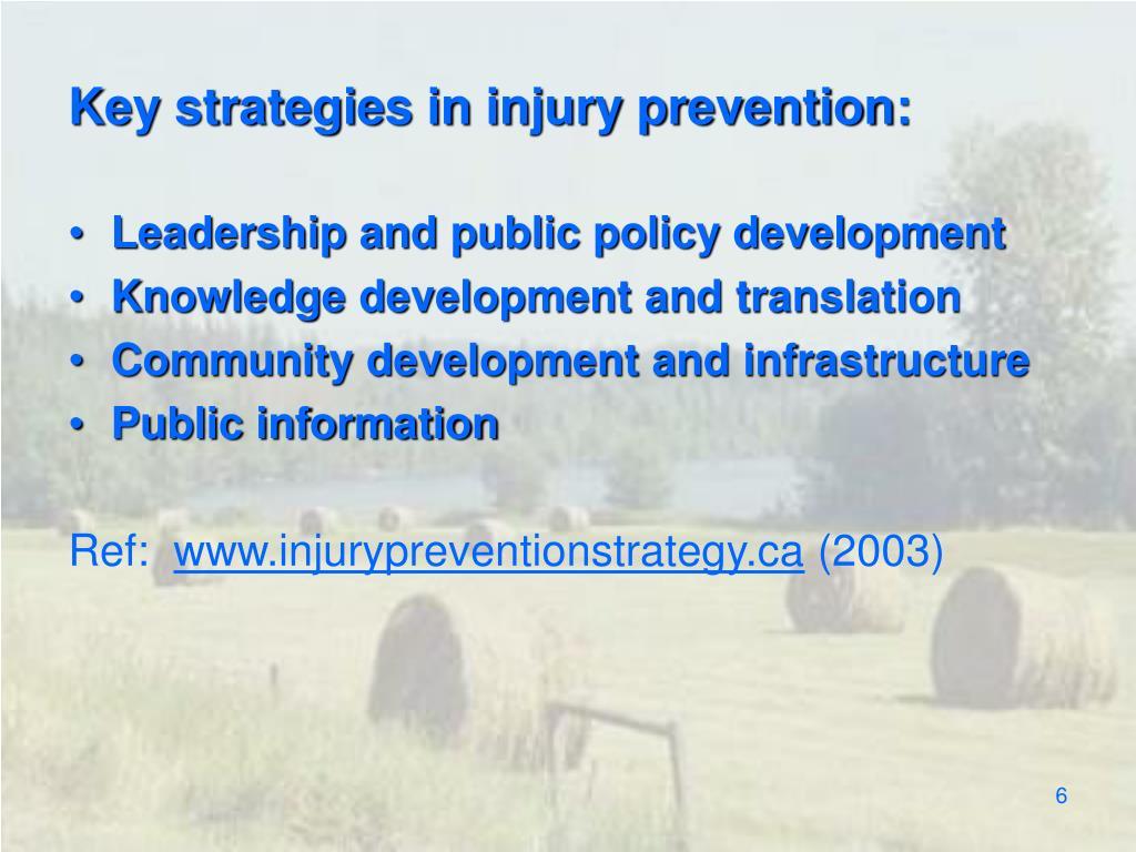 Key strategies in injury prevention: