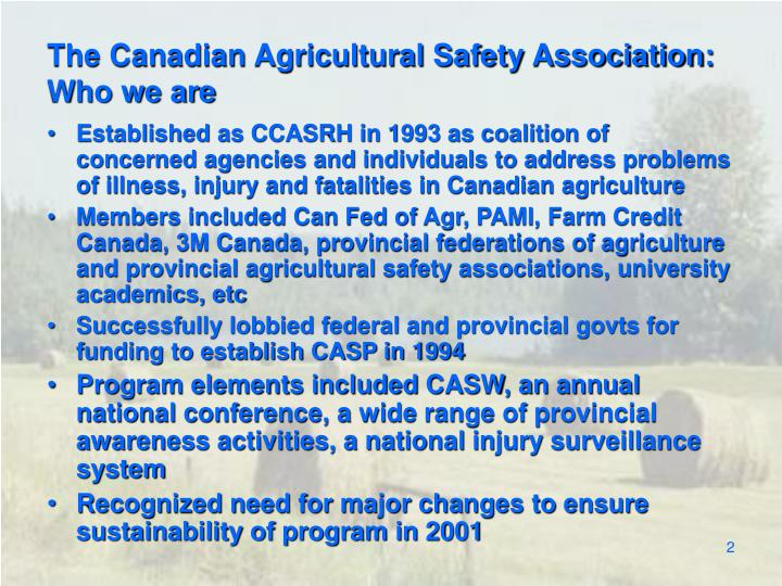 The canadian agricultural safety association who we are
