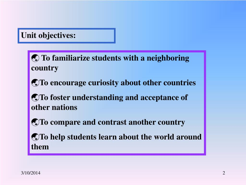 Unit objectives: