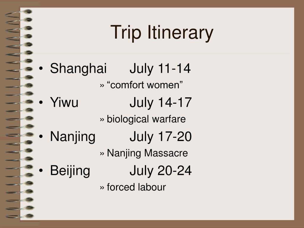 Trip Itinerary
