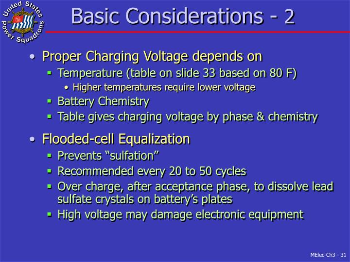 Basic Considerations -
