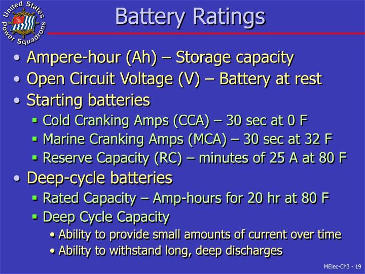 Battery Ratings