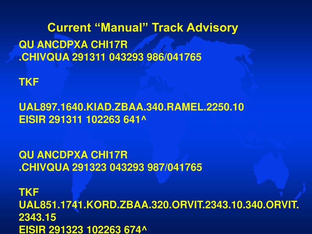 "Current ""Manual"" Track Advisory"