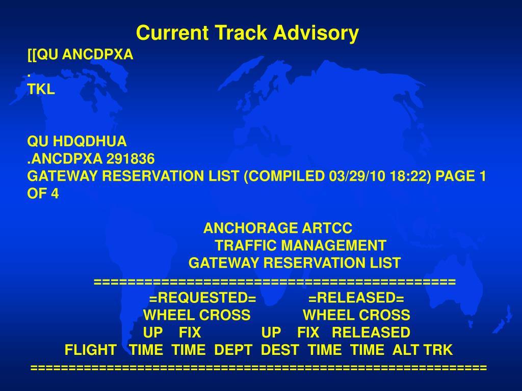 Current Track Advisory