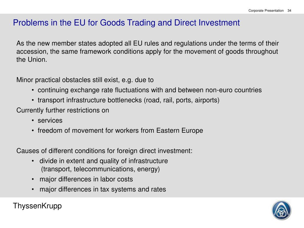 Problems in the EU for Goods Trading and Direct Investment