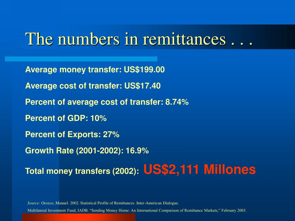 The numbers in remittances . . .