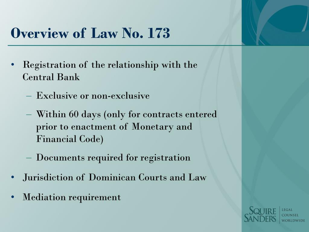 Overview of Law No. 173