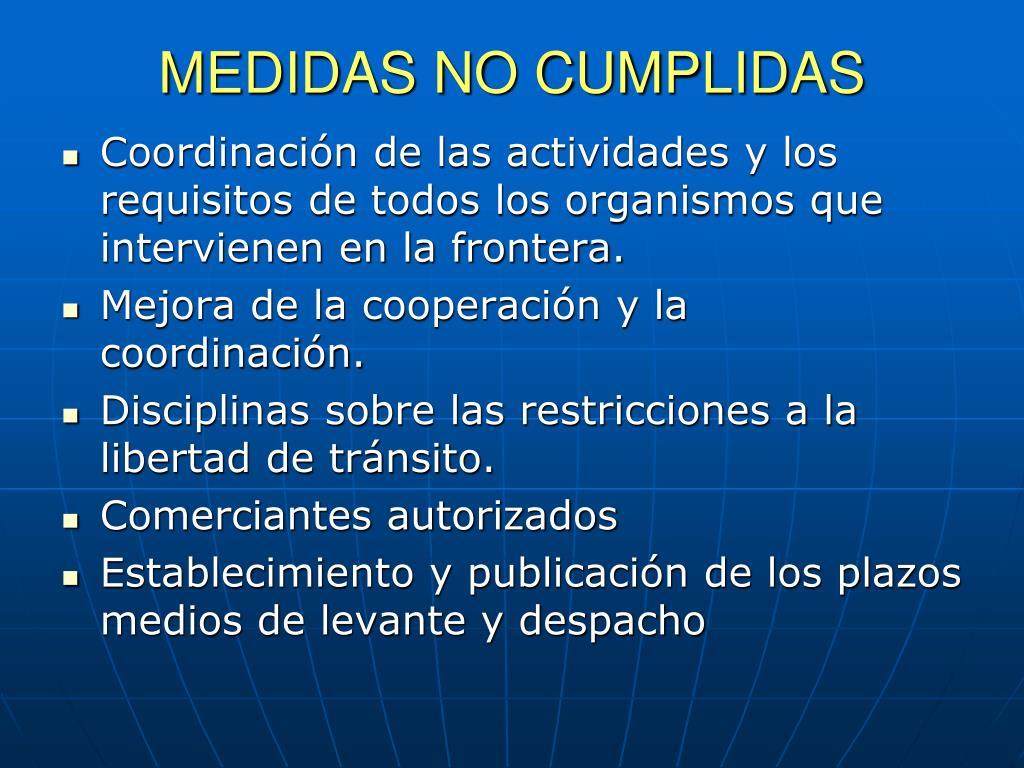 MEDIDAS NO CUMPLIDAS