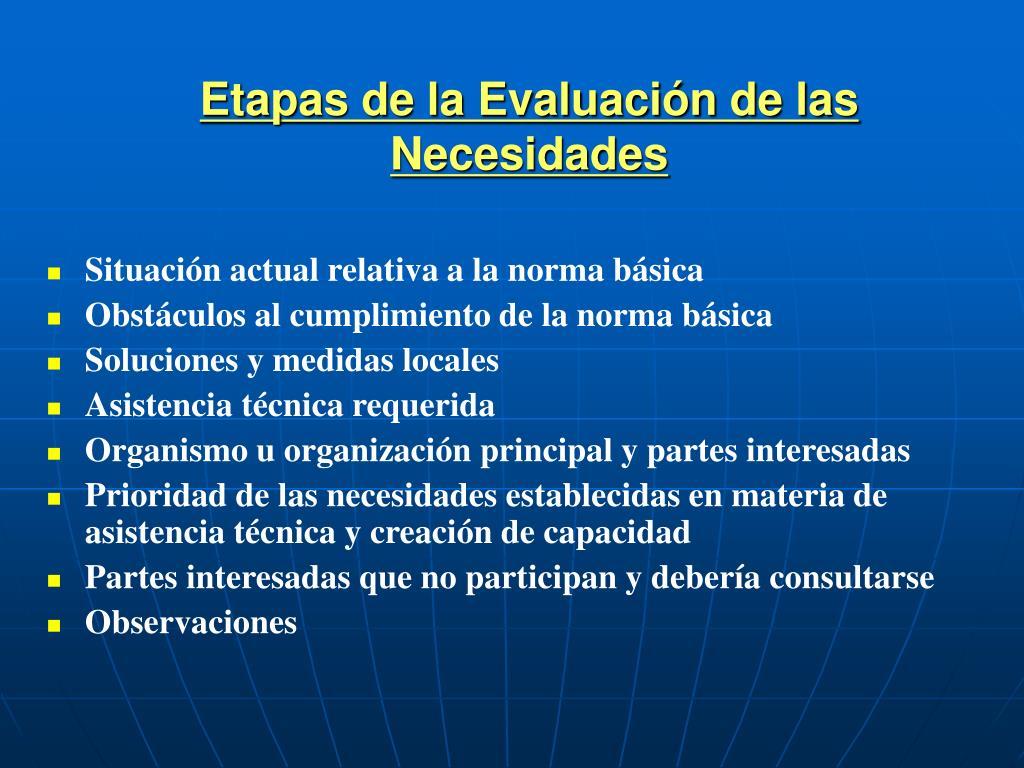 Etapas de la Evaluación de las Necesidades