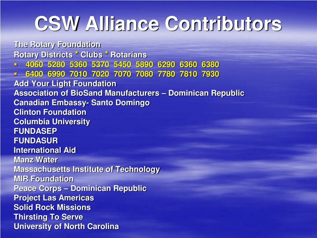 CSW Alliance Contributors