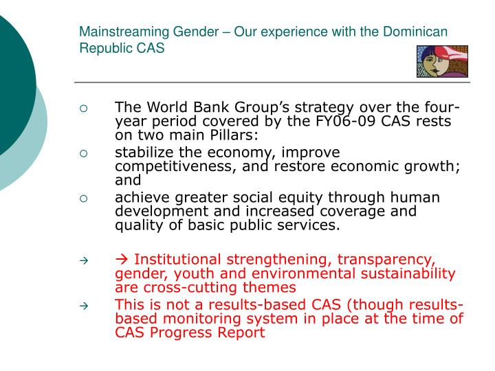 Mainstreaming gender our experience with the dominican republic cas3