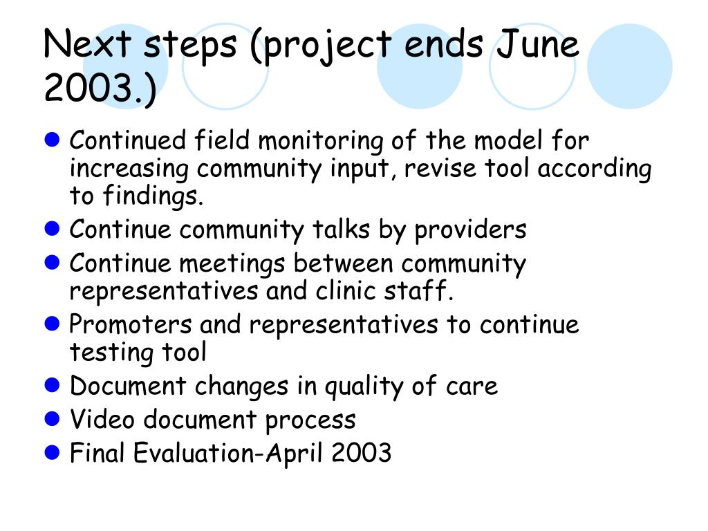 Next steps (project ends June 2003.)